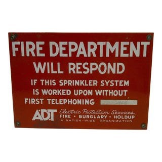 Vintage Fire Department Will Respond Porcelain Sign Adt Electric Protection Services For Sale