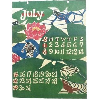 Mid Century Japanese Calendar Wall Art Print For Sale