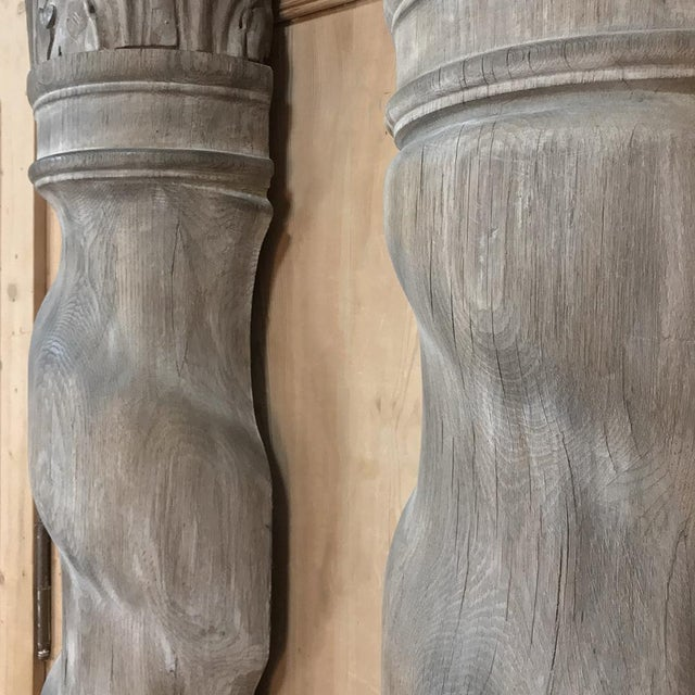 Pair French Architectural Corinthian Weathered Oak Hand Carved Columns, Ca. 1890s For Sale - Image 12 of 13