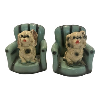 Vintage Chalk Puppies Bookends - a Pair