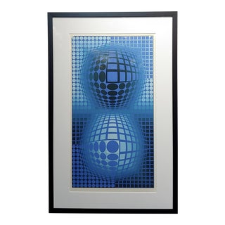 """Double Blue Spheres"" Original Color Screen Print Pencil Signed by Victor Vasarely For Sale"