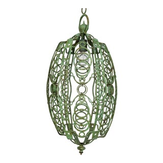 1920's Art Deco Green Oblong Cage Lantern With Circle Motif For Sale