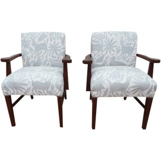 Mid-Century Modern Gray Otomi Hand Embroidery Upholstered Wooden Armchairs - a Pair For Sale