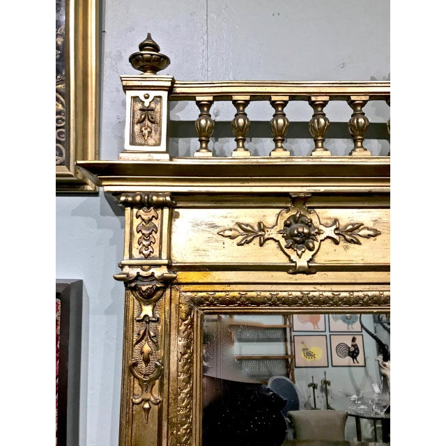 Glass Large 19th Century Antique French Gilt Putti Mirror For Sale - Image 7 of 9