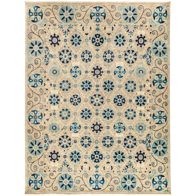 "New Hand-Knotted Suzani Rug - 8'1"" X 10'6"" - Image 1 of 3"
