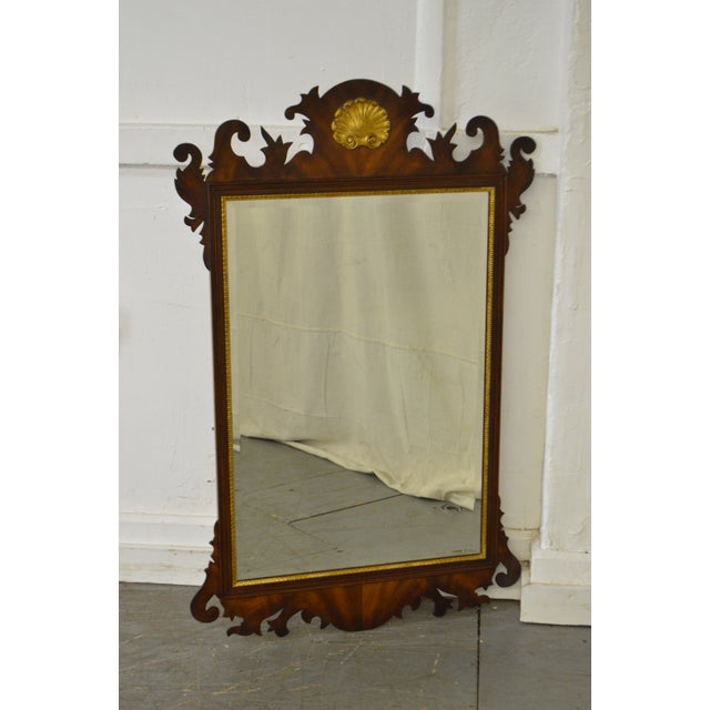 Henkel Harris Flame Mahogany Shell Carved Chippendale Style Wall Mirror - Image 2 of 10