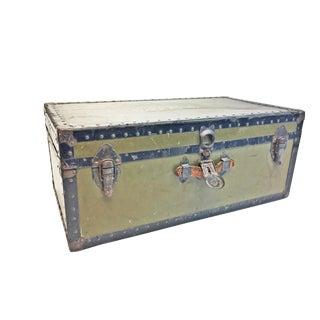 Vintage Industrial Green Us Military Foot Locker Trunk For Sale