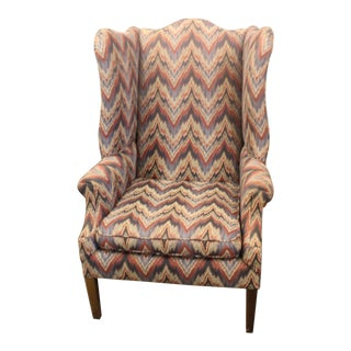 Late 20th Century Flame Stitch Wing Chair For Sale