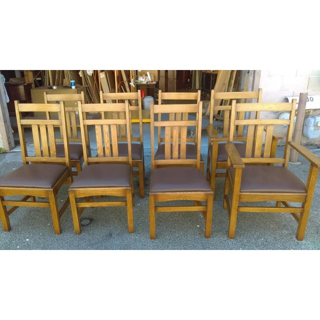 Arts crafts reproduction dining chairs set of 10 for Arts and crafts 5 piece dining set