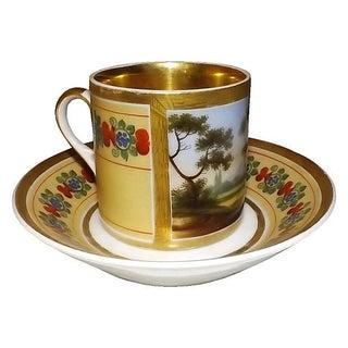 19th C. Paris Porcelain Cup & Saucer For Sale