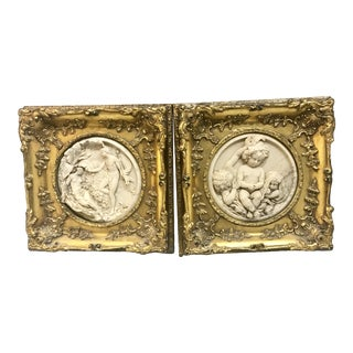 1848 Antique E.W Wyon Alabaster Framed Sculptures - A Pair For Sale