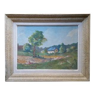 Vintage Irish Cottage Scene Oil Painting by J. Reyas For Sale