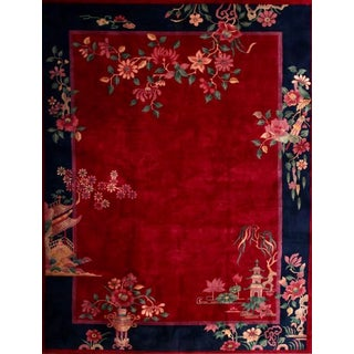 """Antique Chinese Art Deco Condition Rug-8'8"""" X 11'4"""" For Sale"""
