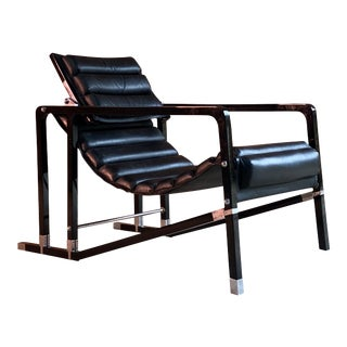 Eileen Gray Transat Chair in Black Leather Black Lacquer by Ecart, circa 2000 For Sale