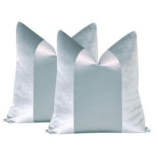 "22"" Pale Blue Velvet & Silk Panel Pillows - a Pair For Sale"