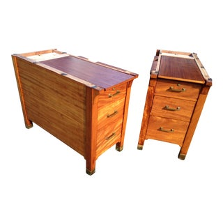 1940s Vintage Mahogany End Chests-a Pair For Sale