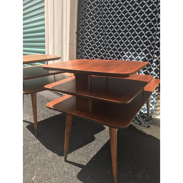 Mid-Century Modern 3 Tier Wood/Brass Side Tables - a Pair For Sale - Image 4 of 10