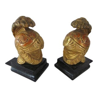 Italian Neoclassical Style Roman Helmet Bookends - a Pair For Sale