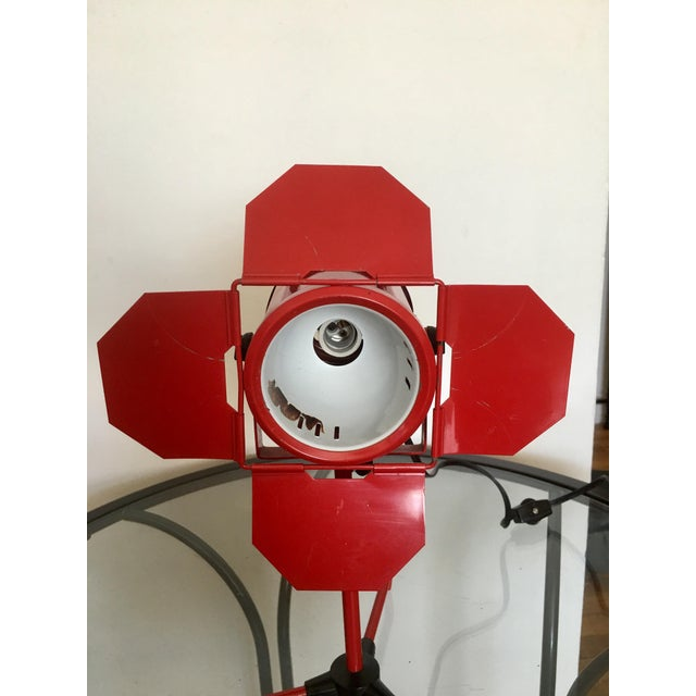 Mid 20th Century Mid Century Red Tripod Spotlight Lamp For Sale - Image 5 of 8