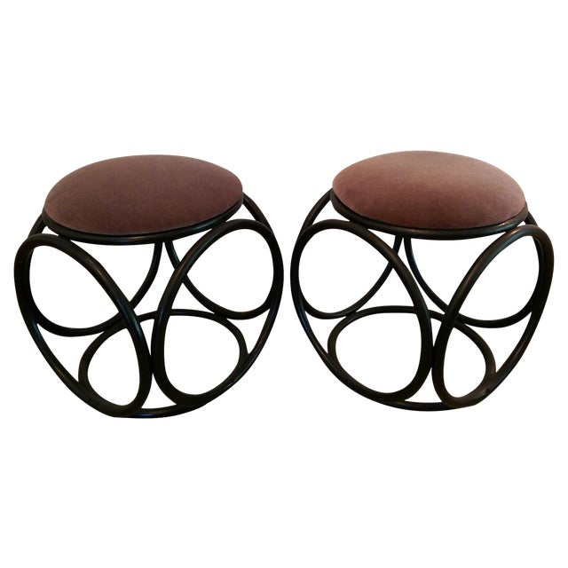 Mohair Thonet-Style Bentwood Ottomans - A Pair - Image 1 of 7