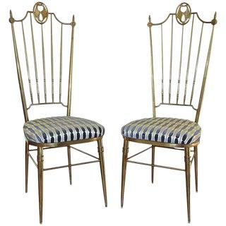 Tall Back Brass Italian Chiavari Side Chairs - A Pair