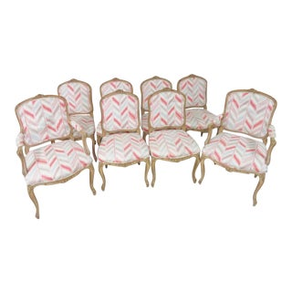Louis XV Faux Painted Floral Carved Dining Chairs- Set of 8