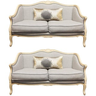 Louis XV Style Painted Walnut Settees - Pair For Sale