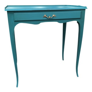 1950s French Provincial Turquoise Accent Table With Drawer For Sale