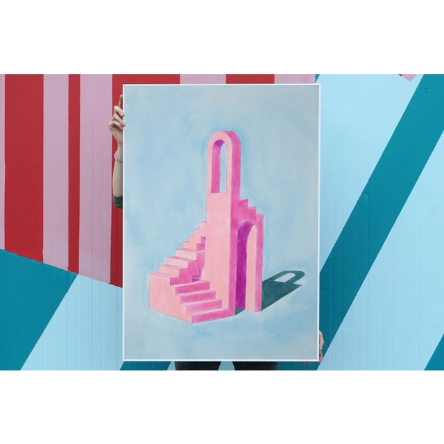 """""""Pink Building on Blue"""" is a hand-painted watercolor painting on high-quality 210g Fabriano paper of a minimalist..."""