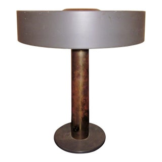 1950s Mid-Century Modern Matte Black and Gold Modernist Ufo Table or Desk Lamp For Sale