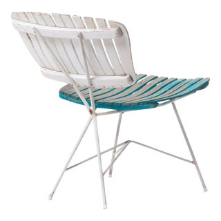 Wood Slat and Iron Low Lounge Chair by Arthur Umanoff for Raymor Us, 1950s For Sale