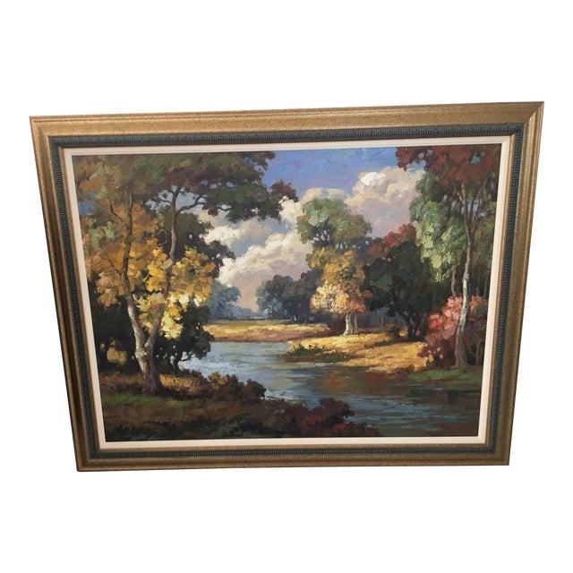 Late 20th Century Oil on Canvas Landscape Painting For Sale