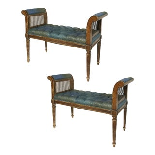 Antique Louis XVI Style Caned Benches With Tufted Seats - A Pair For Sale