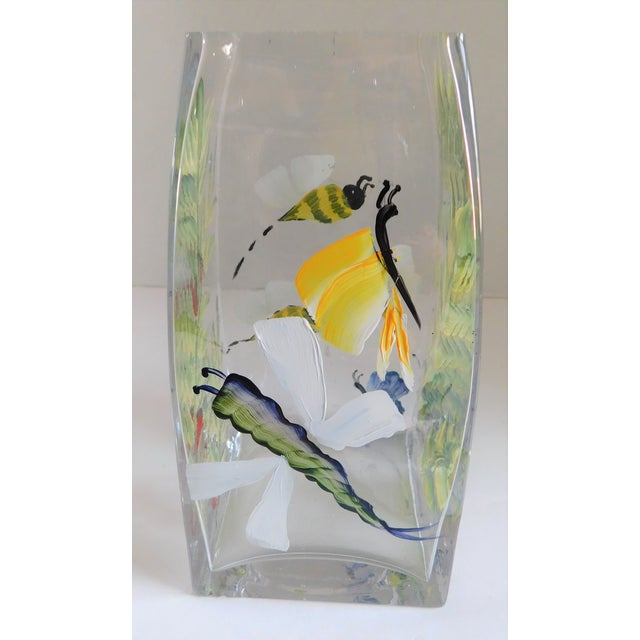 Hand-Painted Vintage Flora & Fauna Glass Vase For Sale - Image 10 of 12