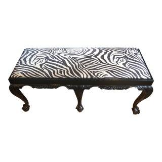 Vintage Faux Zebra Bench For Sale