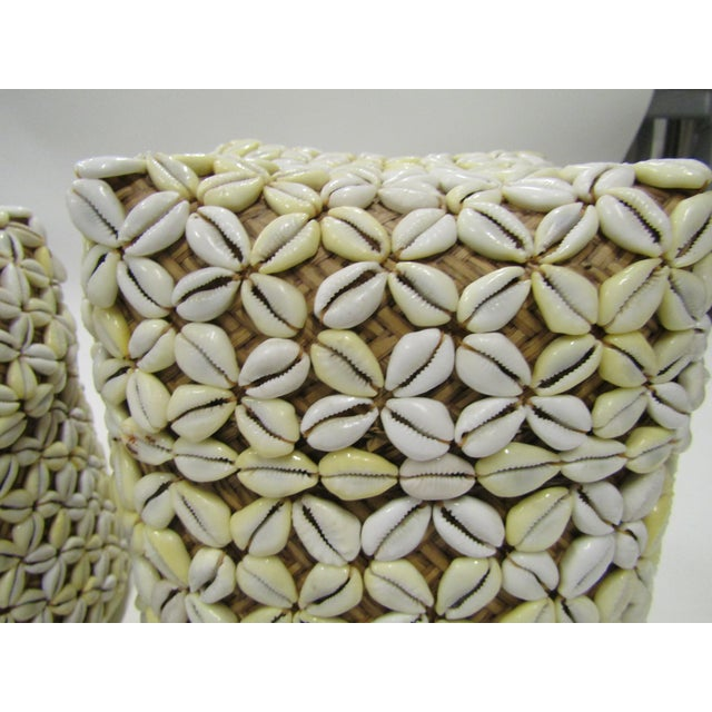2010s Shell Storage Baskets With Lids From Hawaii - A Pair For Sale - Image 5 of 8