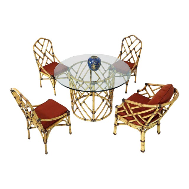 McGuire 7 Pieces Bamboo Dining Set Round Glass Top Table Two Arm Chairs Leather For Sale