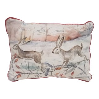 Two Rabbits in Winter Bolster Pillow - Made in Wales, United Kingdom For Sale