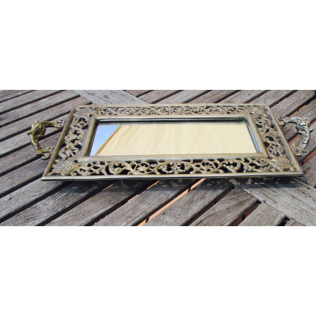 Vintage Ornate Silver Filigree & Mirrored Tray - Image 4 of 10