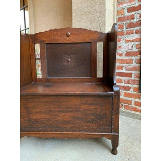 1900s Antique English Carved Oak Bench Seat Lift Top Jacobean Arts Crafts Pew Preview
