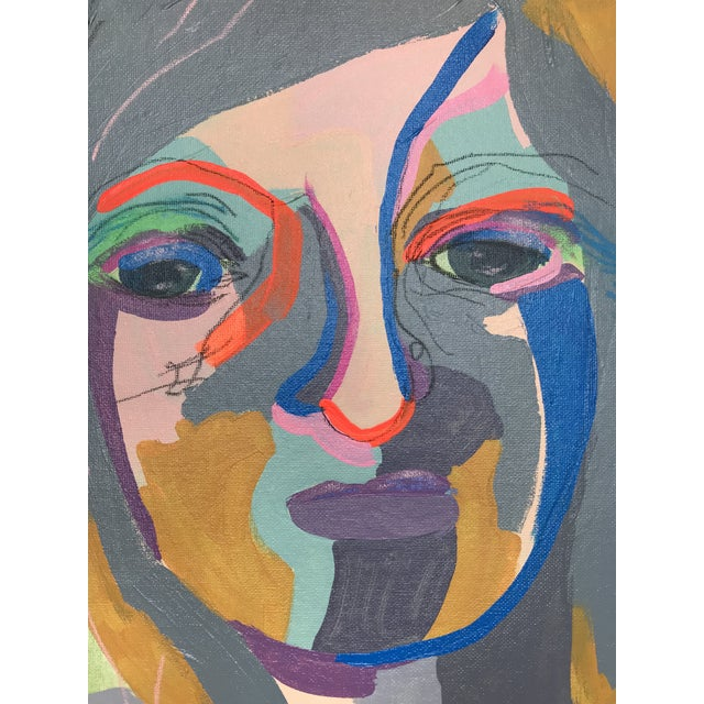 """Contemporary Abstract Portrait Painting """"She's the Girl"""" - Framed For Sale In Detroit - Image 6 of 12"""