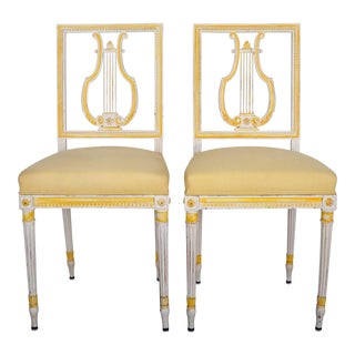 Pair of 1950's Louis XVI French Harp Back Oak Dining Chairs W/ Antique White Frames and Linen Upholstery For Sale