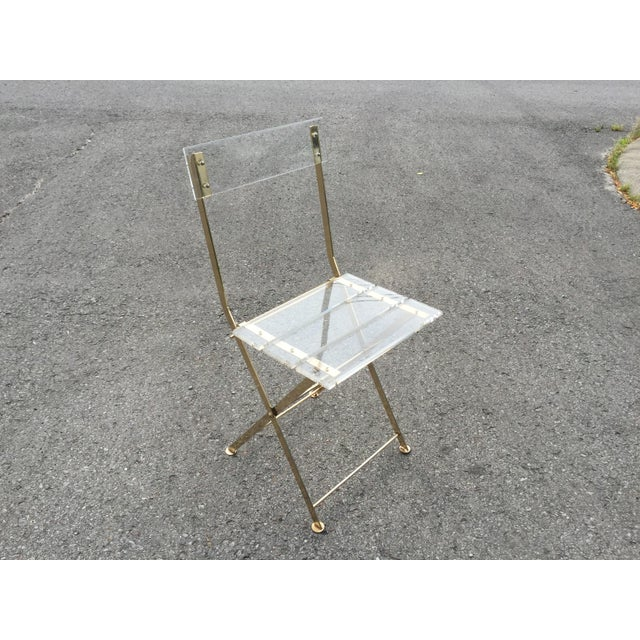 Vintage French Acrylic Folding Chair With Brass Base, C.1970s For Sale - Image 9 of 11