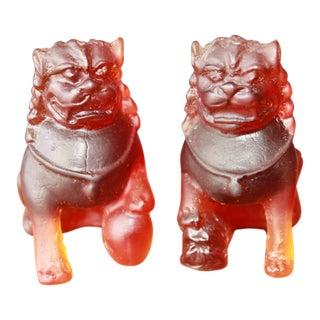 Daum France Crystal Art Foo-Dogs - a Pair For Sale