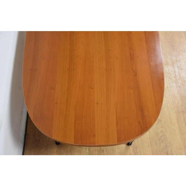 Cherry and Chrome Oval Coffee Table For Sale In Boston - Image 6 of 9