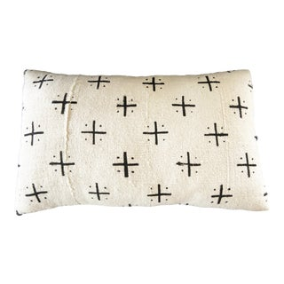 "Mud Cloth Bogolan Black & White Lumbar Pillow African Mali 20"" W For Sale"