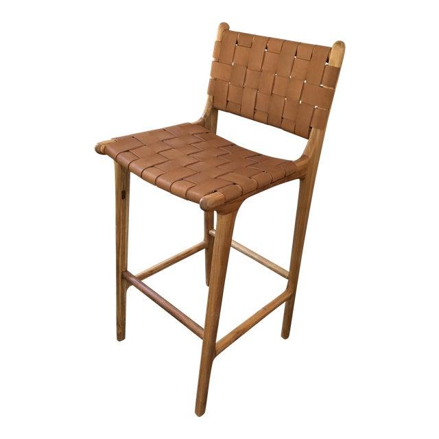 Cool Saffron Poe Woven Leather Strap Counter Stool Creativecarmelina Interior Chair Design Creativecarmelinacom