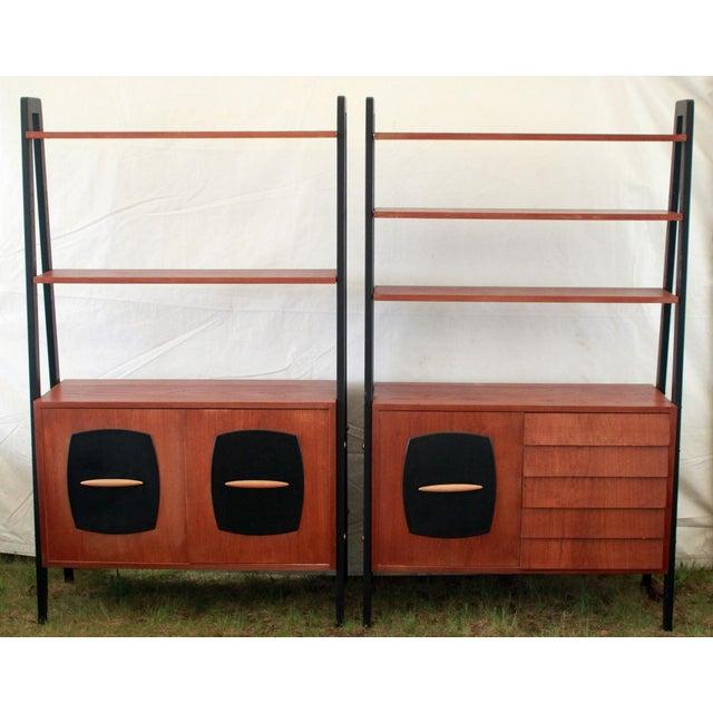 1950's Danish Modern Teak Etagere Cabinets - Pair - Image 5 of 11
