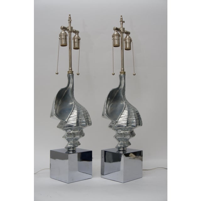 Figurative Sea Shell-Form Table Lamps in Aluminium - a Pair For Sale - Image 3 of 7