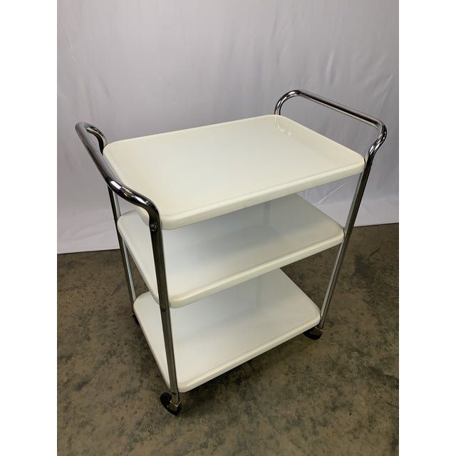 White Mid-Century Modern Three-Tier Enameled Metal Serving Cart by Cosco Hamilton For Sale - Image 8 of 11
